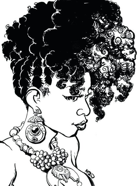 537x720 Natural Hair Coloring Pages Girl With Natural Hair Stock Vector