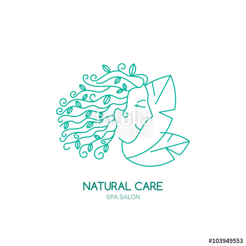500x500 Young Woman With Green Leaves In Curly Hair. Vector Logo, Label