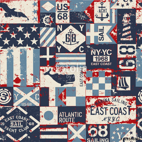 500x500 Grunge Nautical Flags Patchwork Vector Seamless Pattern Stock