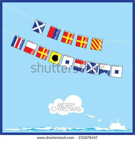 450x470 A Vector Set Of Nautical Flags With Letters Of Merry Christmas