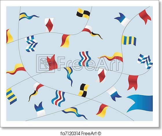 560x470 Free Art Print Of Set Of Nautical Flags. Navigation Flags On Light