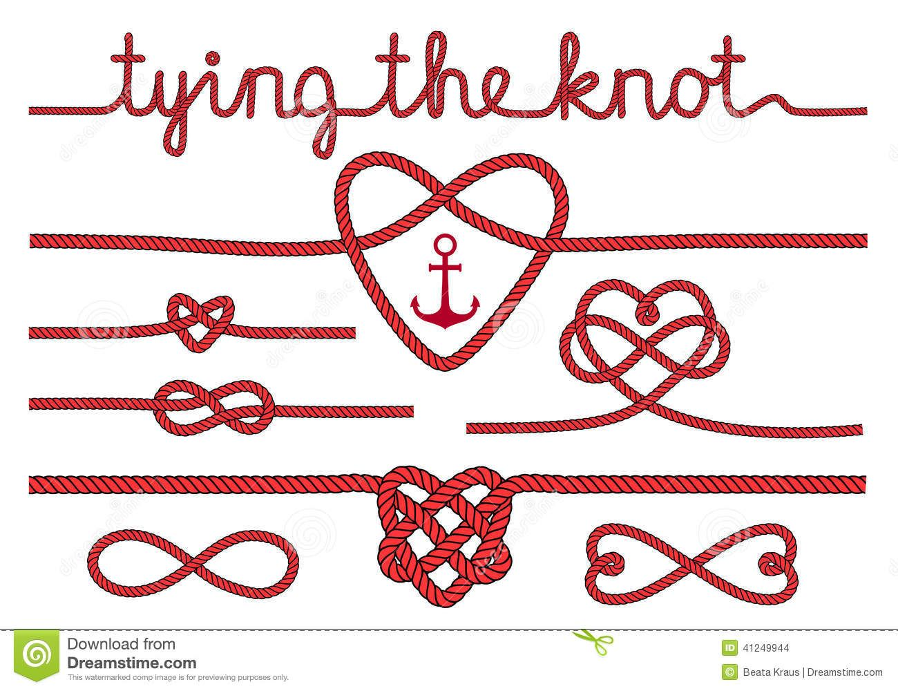 1300x1000 Rope Hearts And Knots, Vector Set