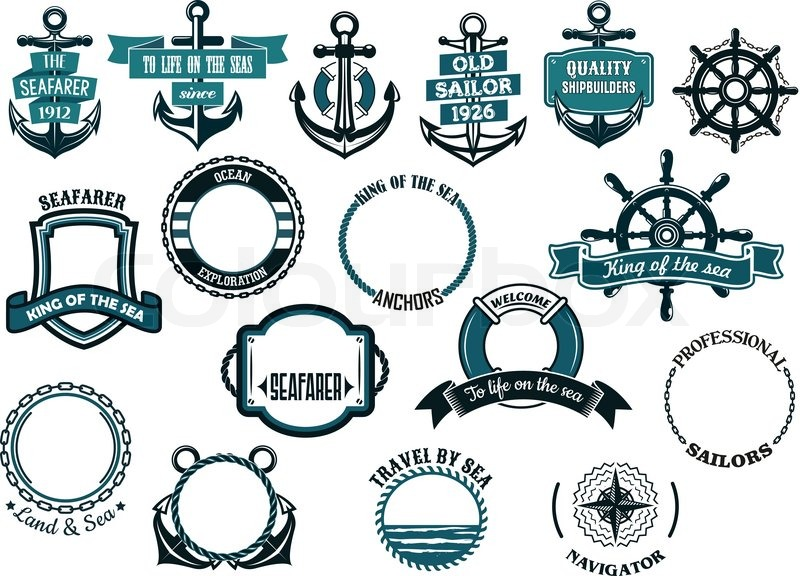 800x576 Set Of Nautical Or Marine Themed Icons And Frames Including Ships
