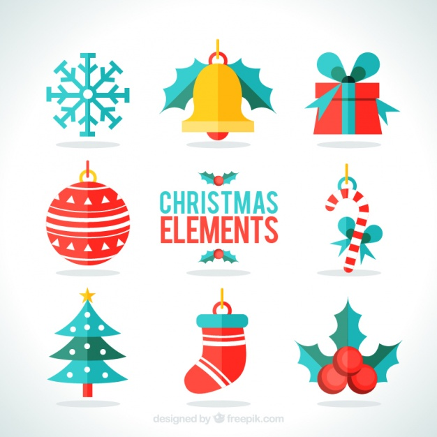 626x626 Assortment Of Flat Christmas Elements Vector Free Download