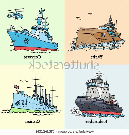 450x470 Corvette Navy Ship Luxury Vector Illustration Doodle Ships