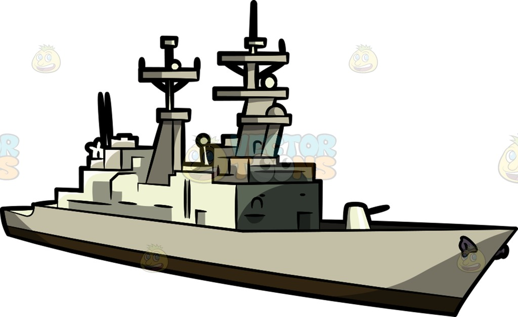 1024x627 A Military Destroyer Ship Clipart By Vector Toons