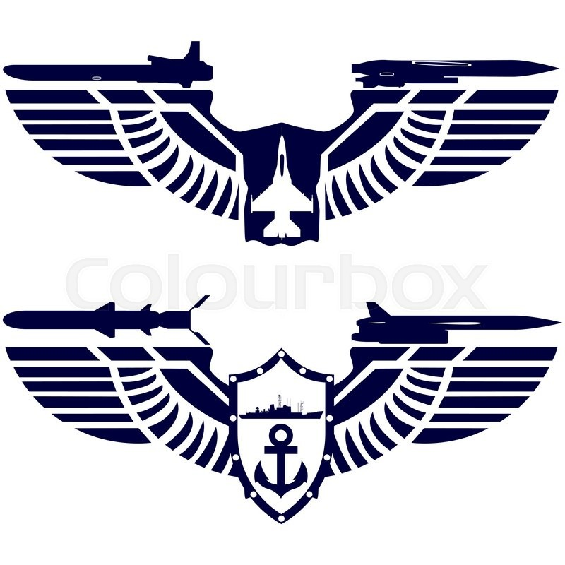 800x800 Badges Air Force And Navy. Combat Fighter And Missile Cruiser On