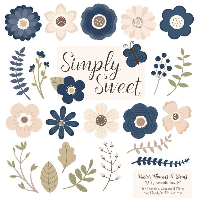 642x642 Cute Flowers Clipart In Navy Navy Vector Flowers Navy Etsy