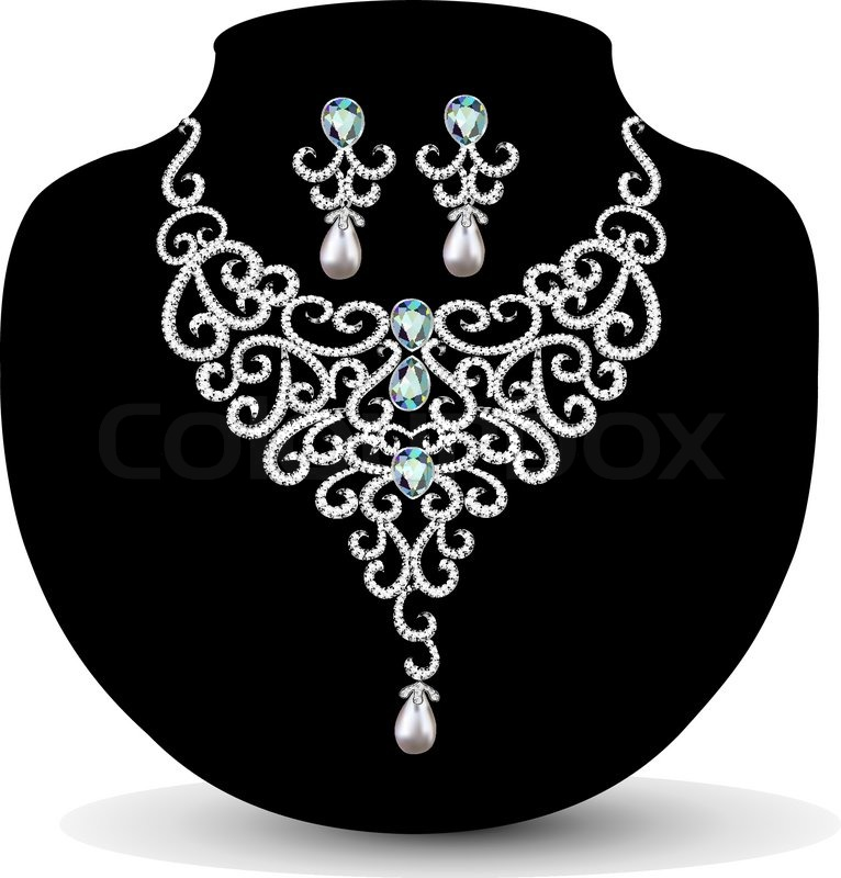 766x800 Necklace And Earrings, Wedding Womens Diamond Stock Vector