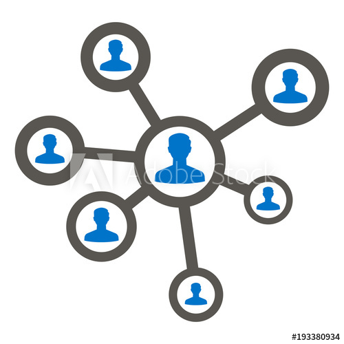 500x500 People Social Network Icon Vector. Human Networking Media