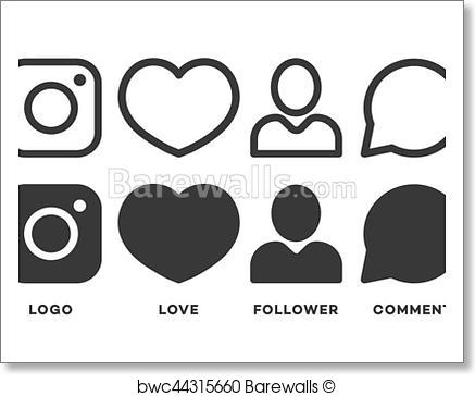 437x364 Art Print Of Set Of Instagram Icon Black Color Isolated On White