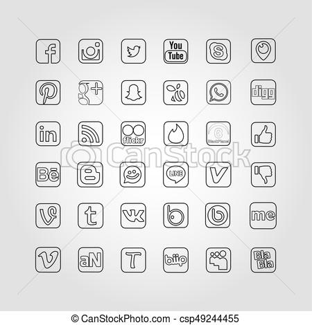450x470 Social Network Icons. Social Network Icon Web Buttons, Vector