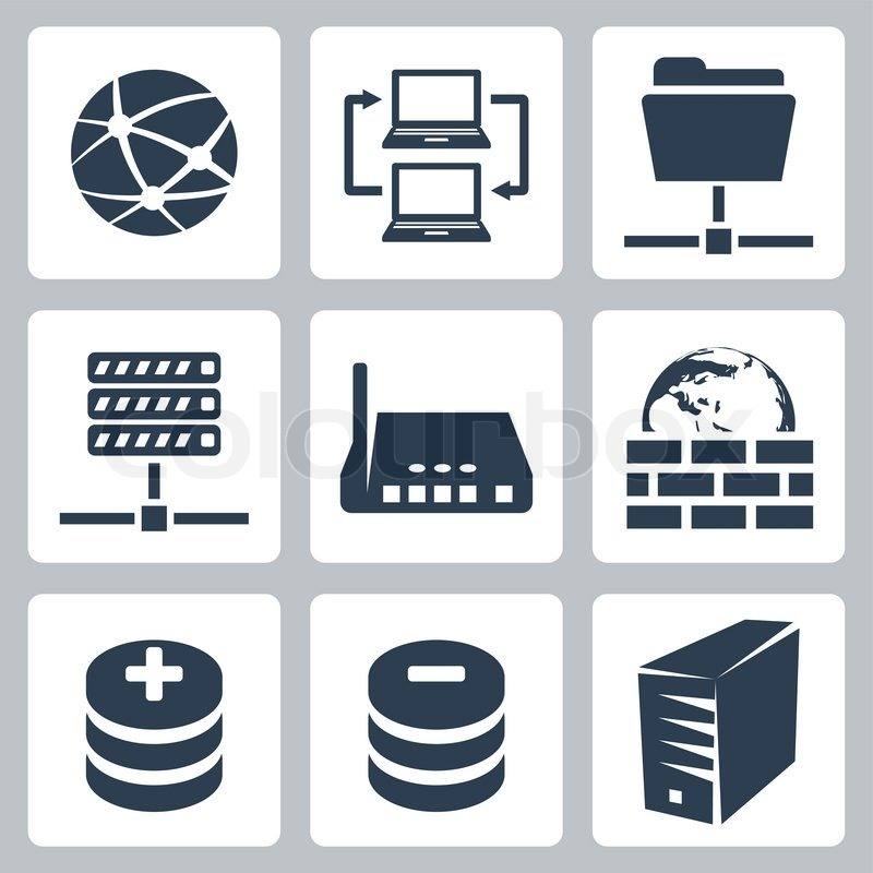 800x800 Vector Isolated Computer Network Icons Set Stock Vector Colourbox