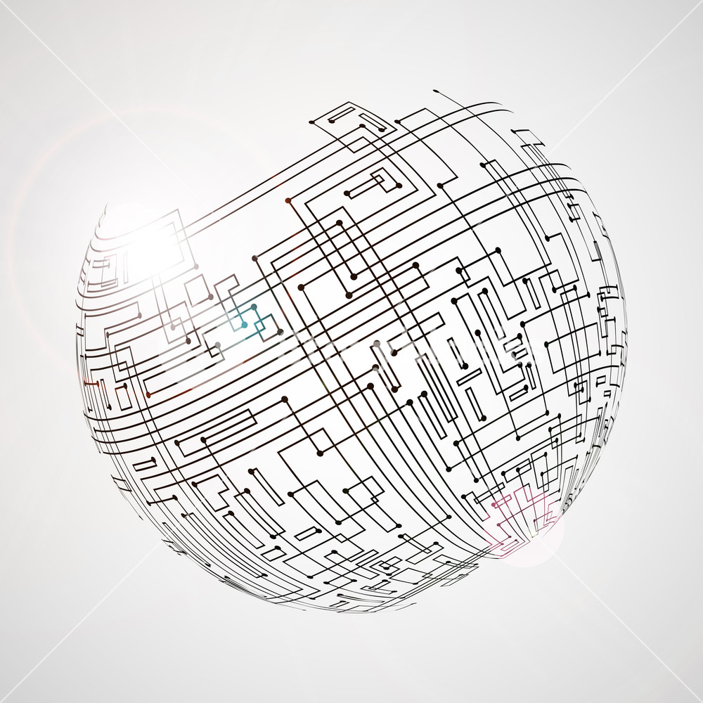 1000x1000 High Technology Abstract Background With Globe For Global Network