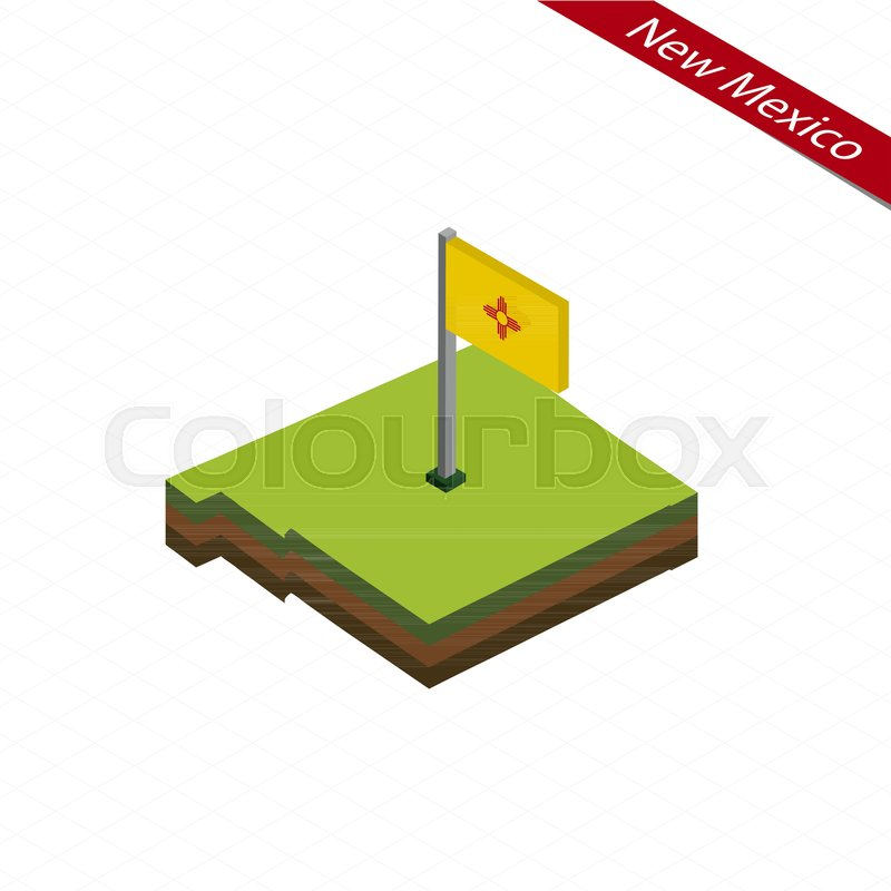 800x800 Isometric Map And Flag Of New Mexico. 3d Isometric Shape Of New