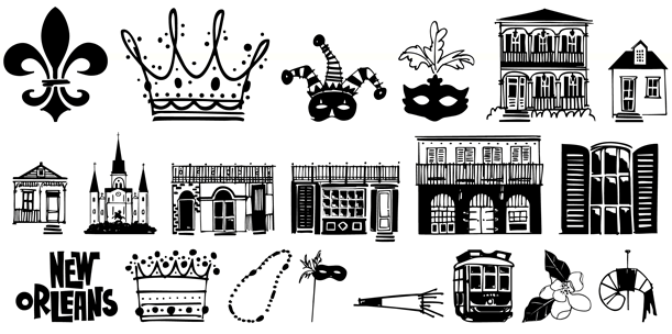 611x304 New Orleans Doodles Font By Outside The Line Font Bros