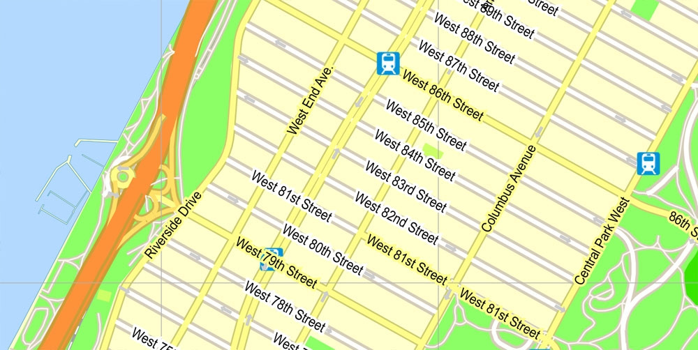 1000x502 New York City Map Vector New York City Street Map