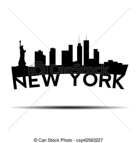 450x470 New York Cityscape. Isolated Cityscape Of New York City, Vector