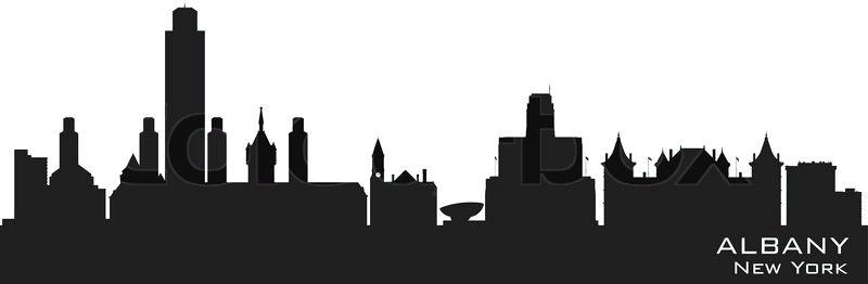 800x262 New York Skyline Silhouette New Skyline Detailed Vector Silhouette