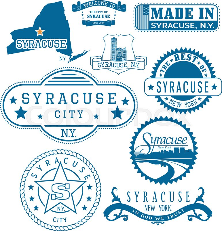 771x800 Syracuse City, New York. Set Of Generic Stamps And Signs Including