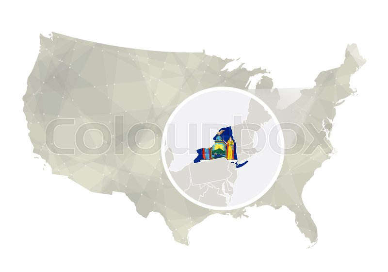 800x560 Polygonal Abstract Usa Map With Magnified New York State. New York