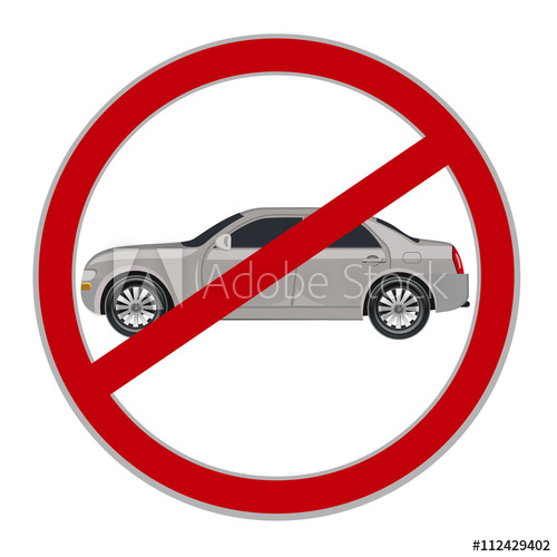 500x500 No Cars Allowed Sign, No Parking, Vector Illustration