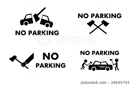 450x288 No Parking Sign And Symbol With Axe Concept Vector