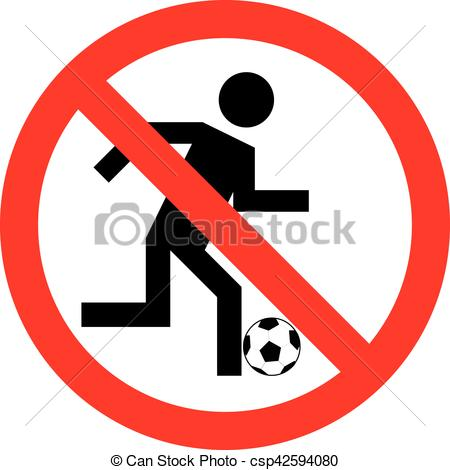 450x470 Ban On Playing Football , No Play Or Football Sign, Vector