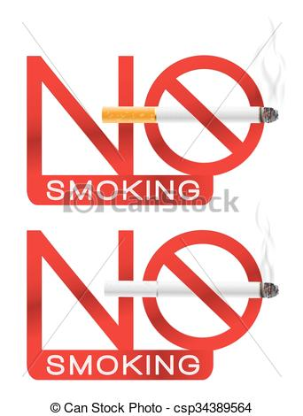 342x470 No Smoking Sign With Cigarette And Smoke. Vector Illustration.