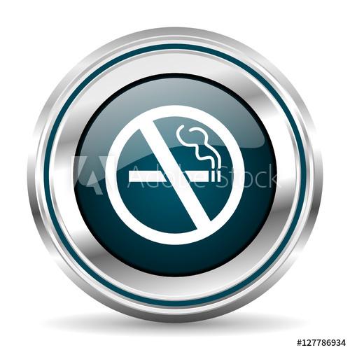 500x500 No Smoking Vector Icon. Chrome Border Round Web Button. Silver