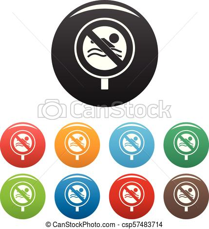 429x470 No Swimming Icons Set Color Vector. No Swimming Icon. Simple