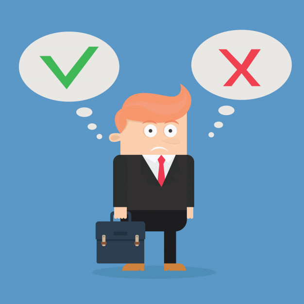 626x626 Businessman Character Confused Between Yes Or No Vector Design