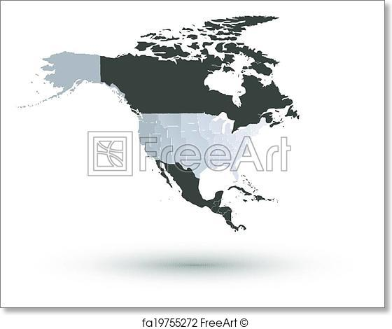 560x470 Free Art Print Of North America Map Background Vector. North