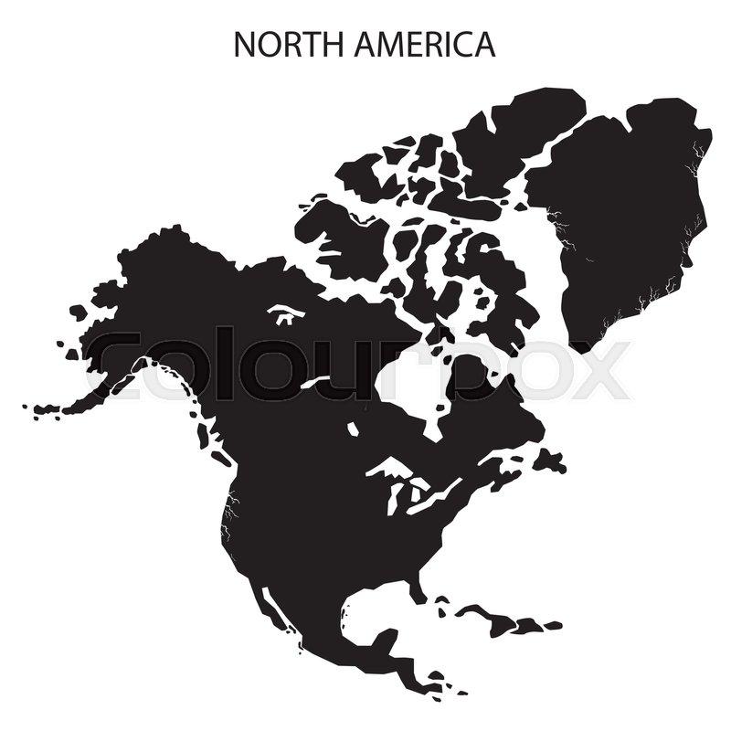 800x800 North America Map On White Background. Black North America Map