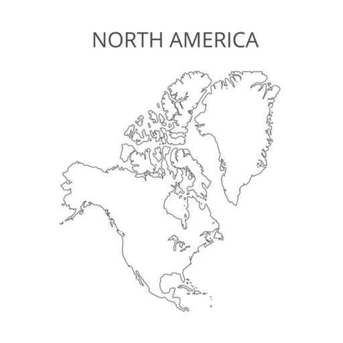 700x700 North America Map. Vector Illustration. Wall Mural We