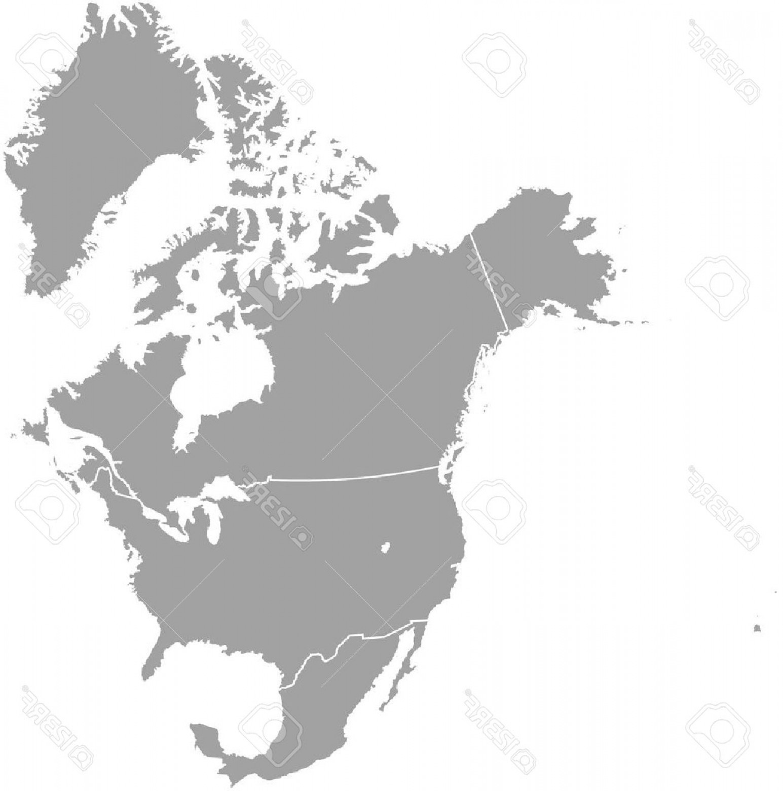 1545x1560 Photostock Vector North America Map Outline With Borders Of
