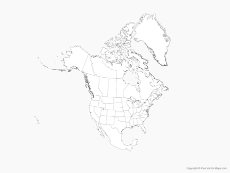 460x345 Vector Map Of North America With Us States And Canadian Provinces