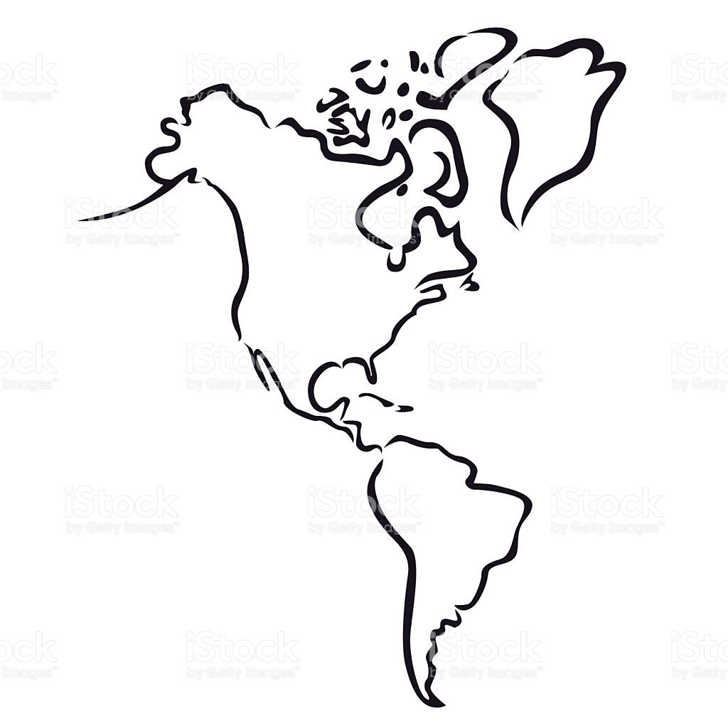 1024x1024 Black Abstract Outline Of North And South America Map Vector