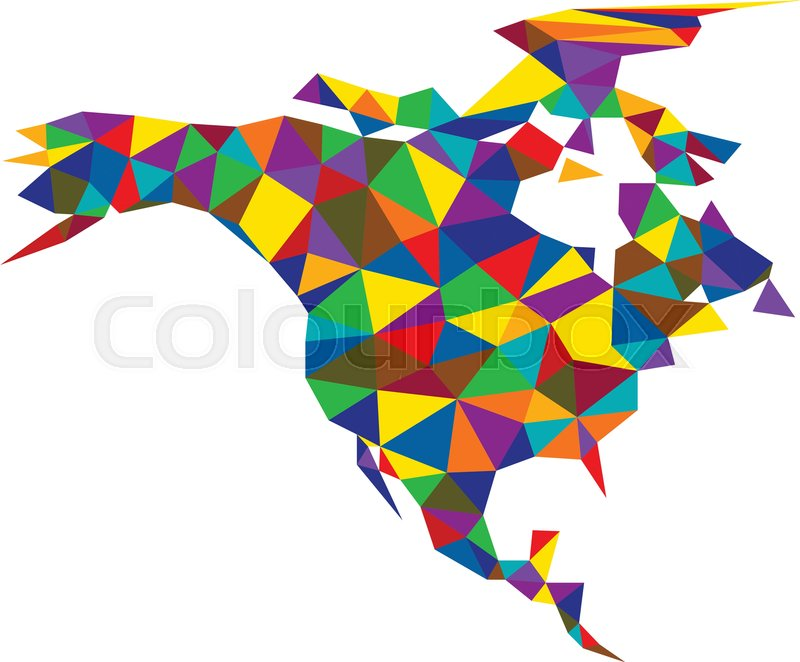 800x662 Colorful Mosaic Geometric Abstract North America Map. Vector Paper