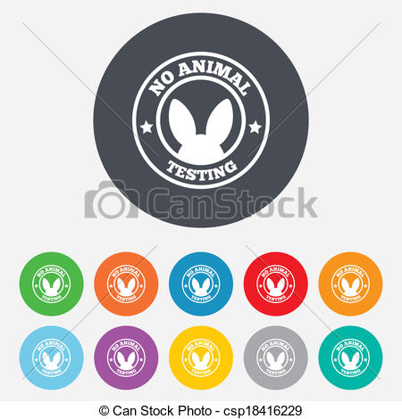 450x470 No Animals Testing Sign Icon. Not Tested Symbol. Round... Vector