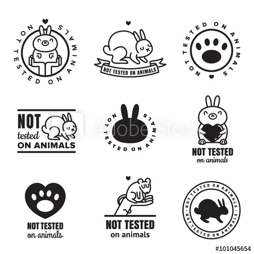 500x500 Not Tested On Animals Cute Black Icons. Can Be Used As Logos And