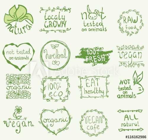 500x473 Set Of 16 Vector Icons.100% Bio, Eat Local, Healthy Food, Farm