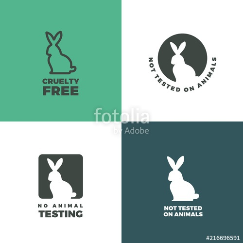 500x500 Set Of Icons With A Rabbit As A Symbol Of Animal Cruelty Free