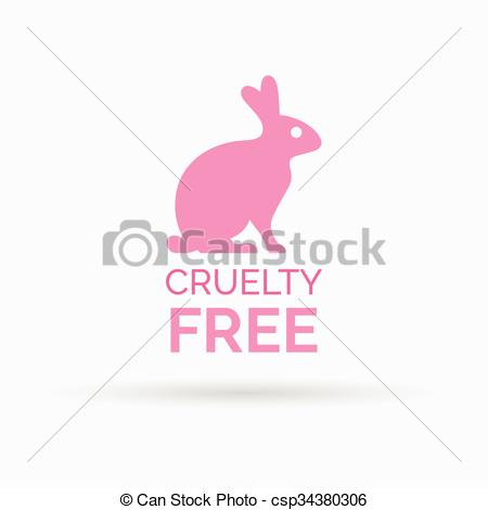 450x470 Cruelty Free Icon Design With Pink Bunny Rabbit Vector Symbol