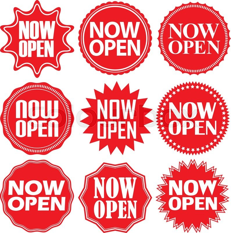 795x800 Now Open Red Label. Now Open Red Sign. Now Open Red Banner. Vector