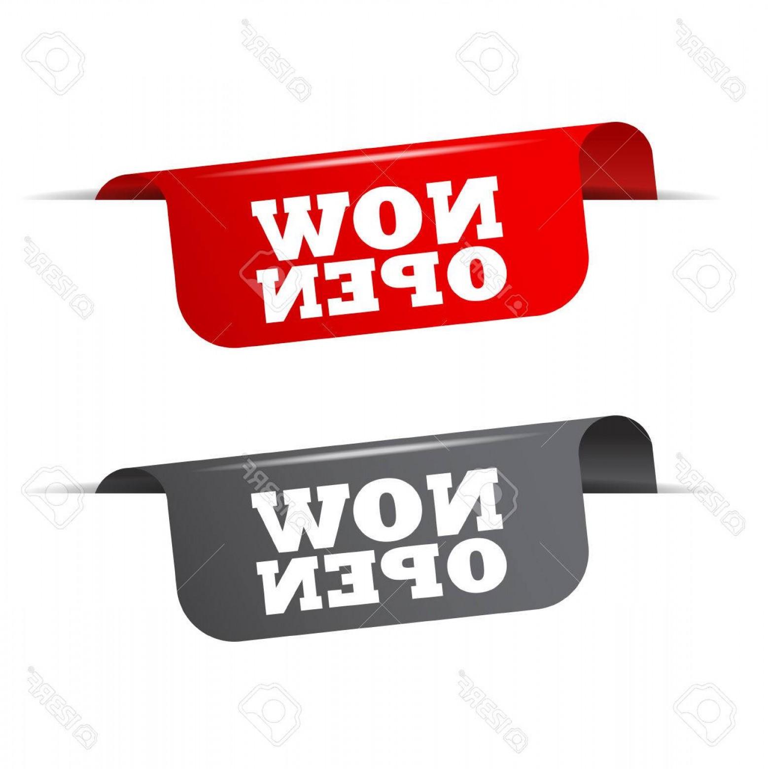 1558x1560 Photostock Vector Now Open Red Banner Now Open Vector Element Now