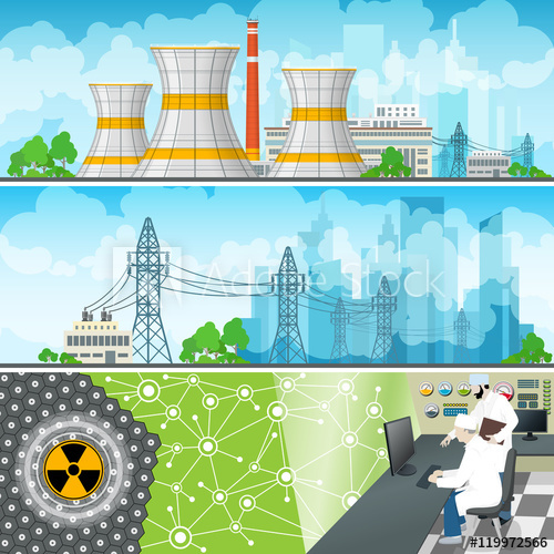 500x500 Nuclear Power Plant Horizontal Banners,nuclear Reactor And Power