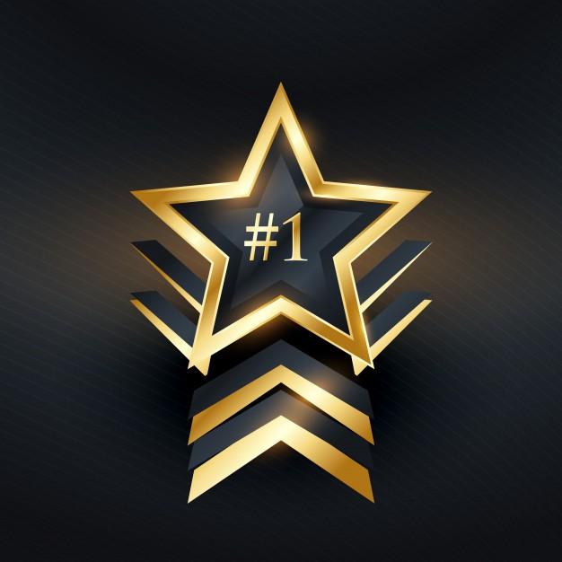626x626 Number 1 Star Premium Label Design Vector Premium Download