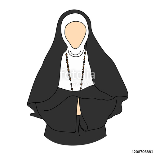 500x500 Nun Silhouette. Vector Illustration. Stock Image And Royalty