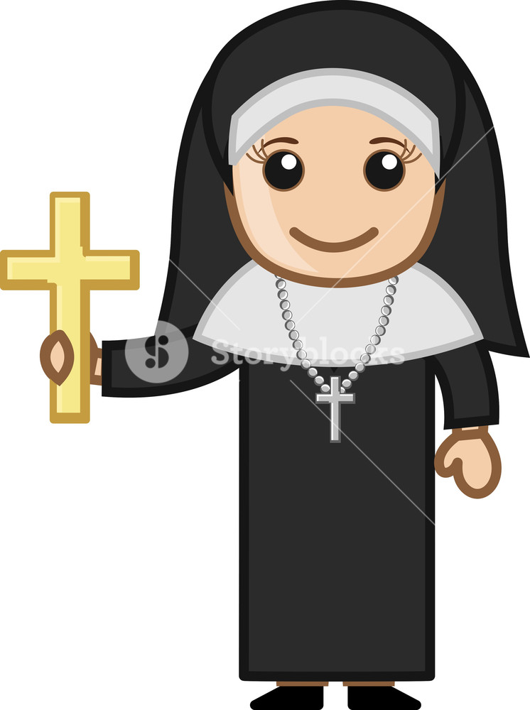 746x1000 Nun With Golden Cross